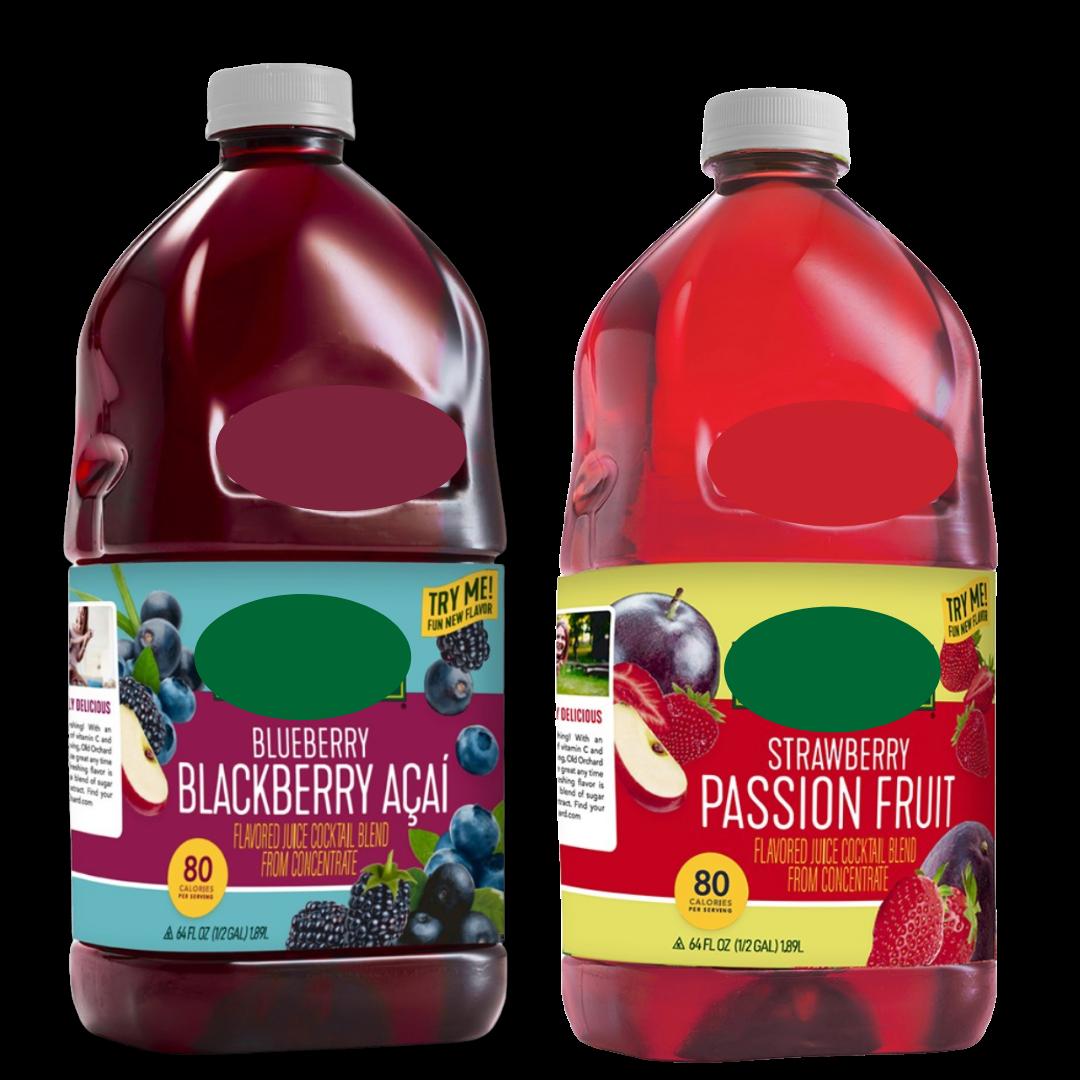 Strawberry Passionfruit or Blueberry Blackberry Acai Juice